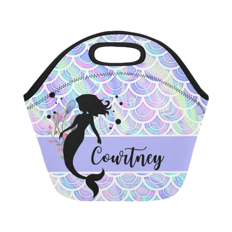 1d494545a380 Personalized Purple mermaid lunch bag, custom lunch bag, mermaid lunch bag  for girls, custom lunch box, personalized lunch box, mermaid