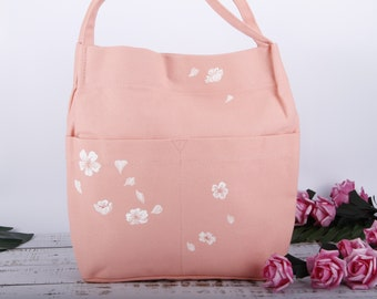 626ef09e7e57 Hand Painted Peach Pink Cherry Blossom Floral Vegan Large Canvas Tote Bag  with Pockets Two-Cotton Linen Fabric Shoulder Handbag Purse Phone