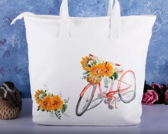 e35935d07aa9 Hand Painted Sunflower Floral Large Vegan Canvas Tote Bag Zipper with Pocket -Cotton Linen Cute Women Shoulder Handbag-Custom Valentines Gift