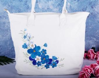 9a1f61a8929e Hand Painted Blue Flower Large Canvas Tote Bag with Zipper Pocket-Women  Fabric Cotton Linen Vegan Shoulder Bag Handbag-Custom Unique Gift