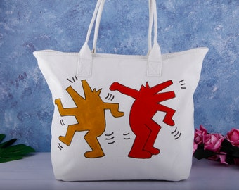 e71086f0449e Hand Painted Pop Art Vegan Large Canvas Tote Bag with Pocket Zipper-Keith  Haring Cotton Linen Fabric Shoulder Handbag-Unique Birthday Gift