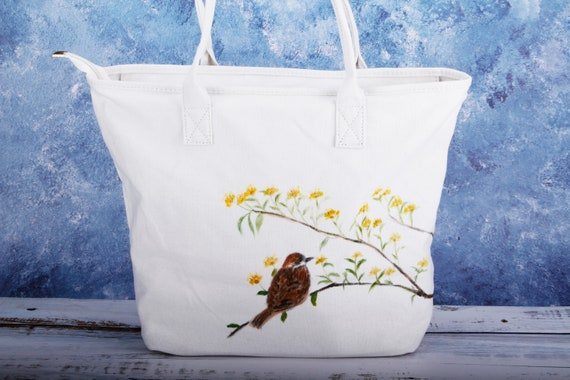 c59b06c11bc5 Hand Painted Bird Women Large Canvas Tote Bag Zippered with