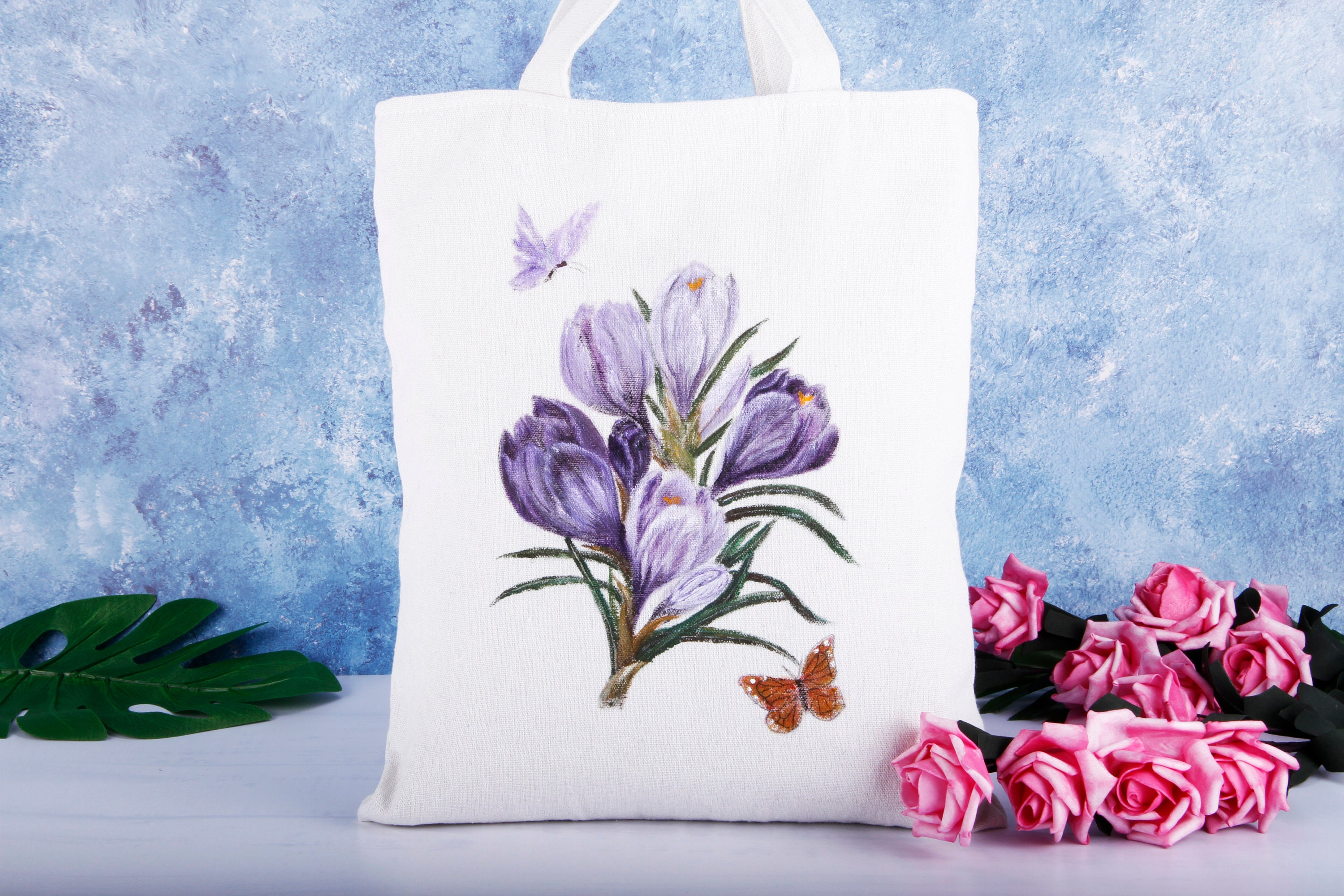 6c9c932f7c12 Hand Painted Floral Canvas Tote Bag-Purple Tulip Butterfly