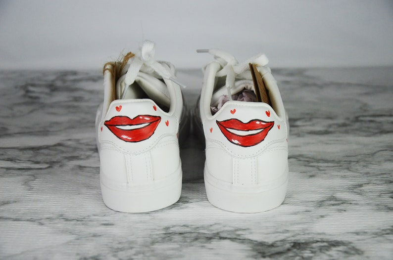 Red Lips Custom Sneakers Leather Vegan Womens Hand Painted Shoes-Outdoor Tennis Sports Girl Friend School White Shoes Kiss Me Red Hearts