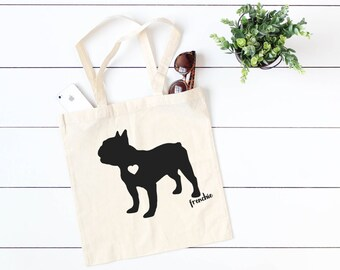 French Bulldog Face 100/% Cotton Tote Bag Frenchie Puppy Dog
