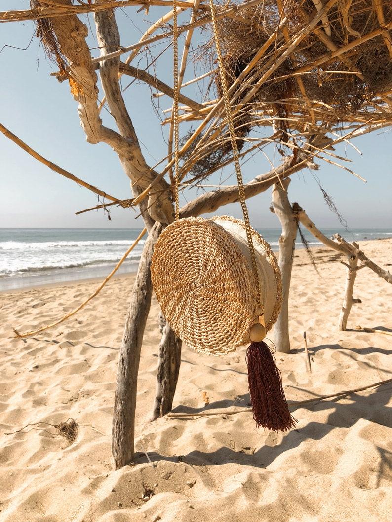 Handwoven Wicker Bag Rattan Bag Natural Straw Pom pom Handmade Summer Bohemian Vintage Purse basket boho Raffia 70s handbag abaca strawbag