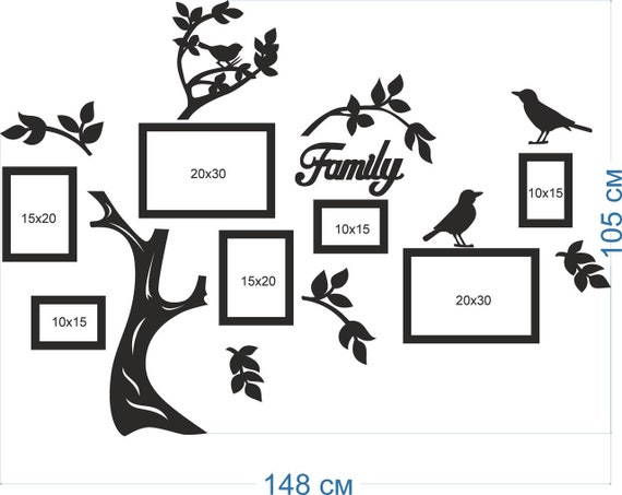 Black Wooden Family Tree Collage Photo Collage Family Tree Etsy