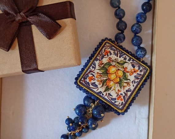 Sicilian Necklace with Lapis stones and Sicily Ceramic  Tile