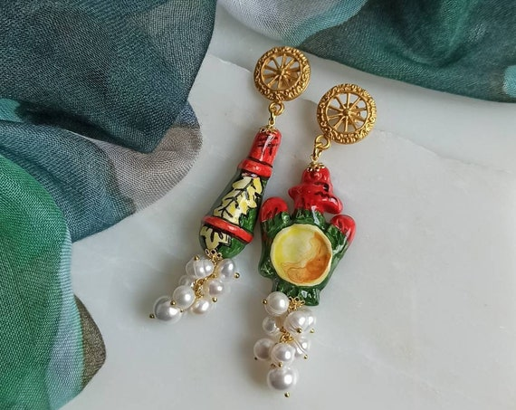 Sicilian Ceramic Earrings with Pearl cluster