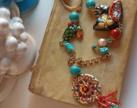 Extra long Chain necklace with Turquoise, Pearls and Sicily Ceramics