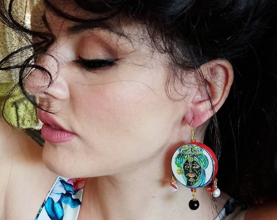 Sicily earrings with chunky tambourines