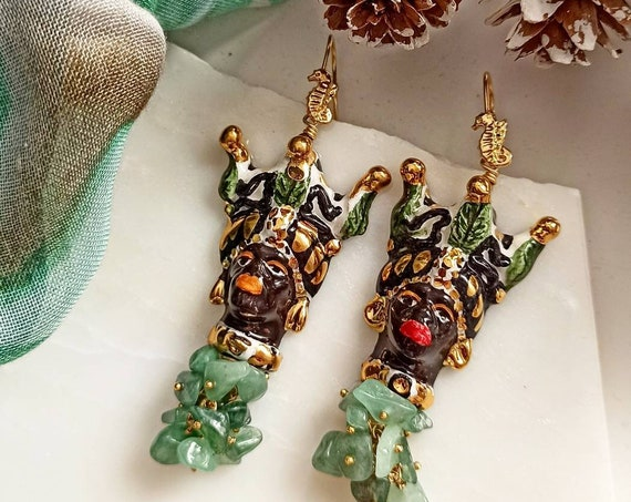 Sicilian Moor Head Earrings with green cluster