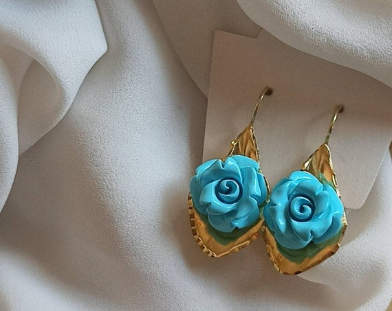 925 Drop Earrings with Turquoise Paste Roses
