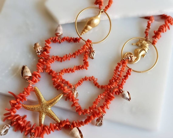 Multi strand Necklace with Mediterranean Coral chips and Brass Pendants