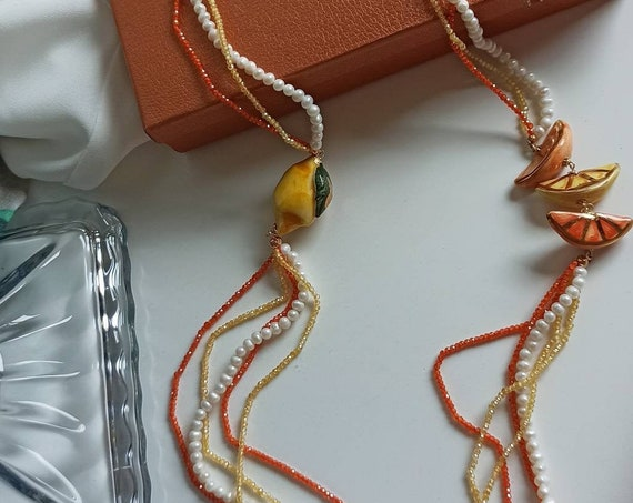 Sicilian Necklace with Pearls, Spinel stones and Sicily Ceramics