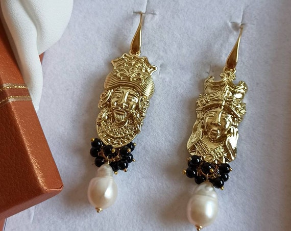 Baroque style Sicilian earrings with Sicily heads