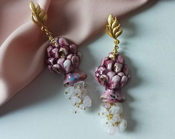 Baroque style earrings with Sicily ceramic Pine Cones and Rose Quartz chips