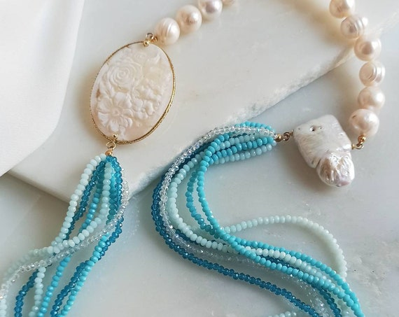 Multi strand necklace with Pearls, Crystals and Shell Cameo