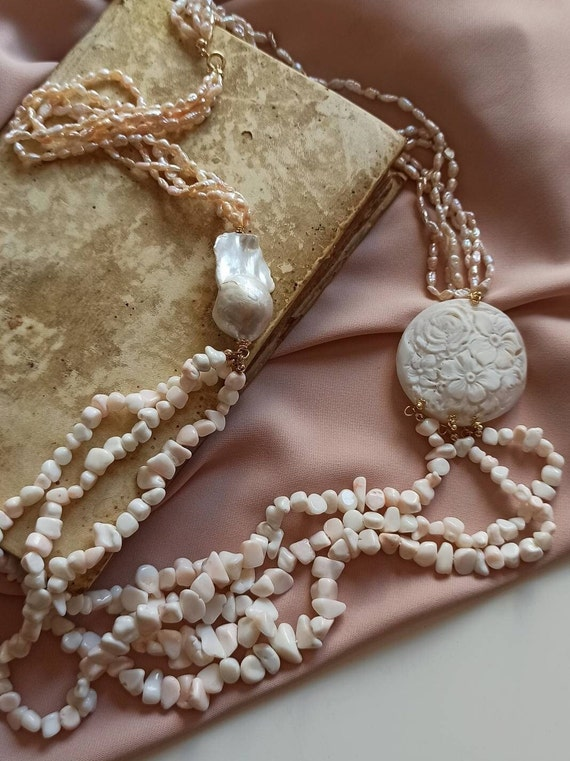 Multi strand necklace with rose Pearls, rose natural Coral and Shell Cameo