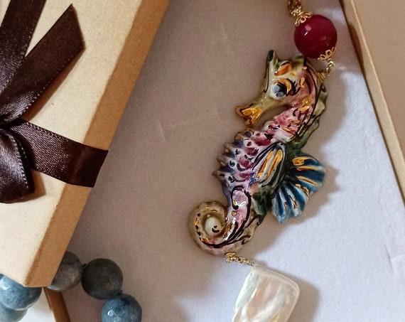 Baroque Necklace with Sicily Ceramic Seahorse