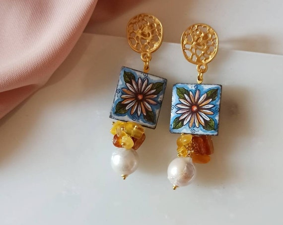 Baroque style Tile Earrings with Baroque Pearls
