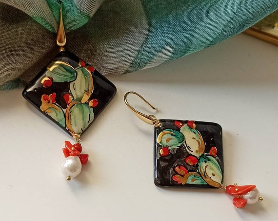 Sicily ceramic earrings with Baroque Pearls