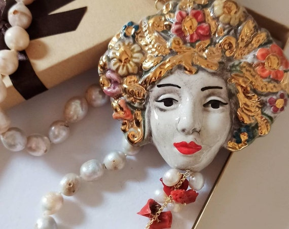 Handknotted necklace with baroque Pearls and Sicily Ceramic Head