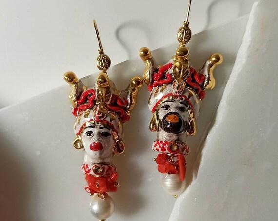 Sicilian Moor Head Earrings with Baroque Pearls