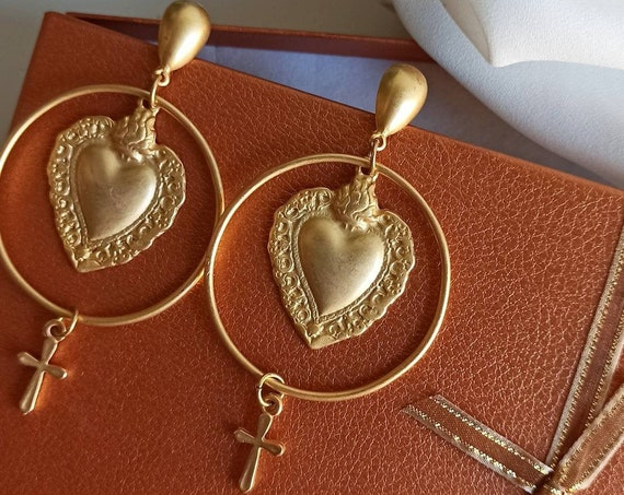 Extra long Brass earrings with sacreed hearts and little crosses