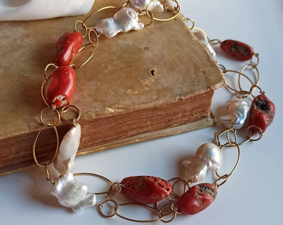 Double chain necklace with Mediterranean Coral and Baroque Pearls