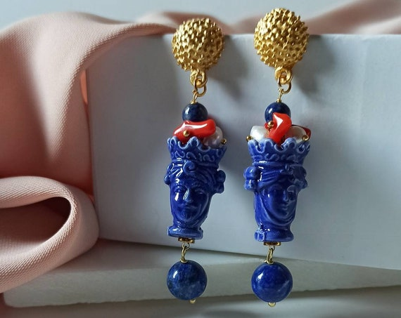 Sicilian Moor Head Earrings with Lapis Stones