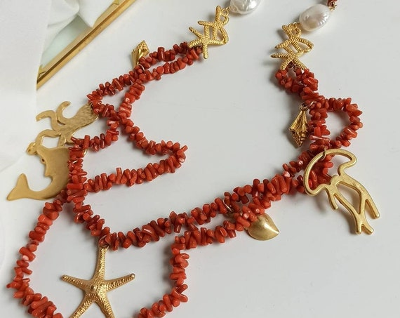 Double strand Necklace with Mediterranean Coral chips and Brass Pendants