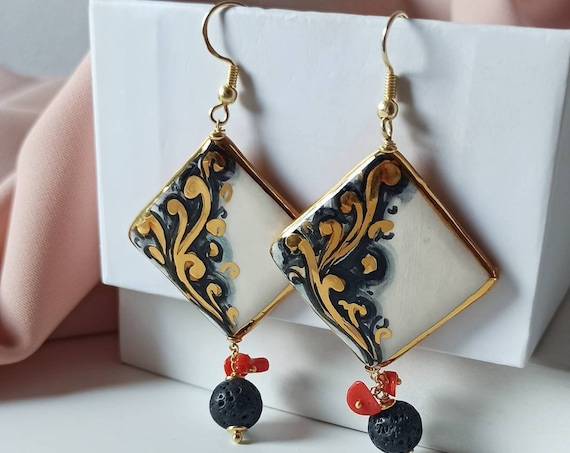 Sicily ceramic earrings with Lava Stones