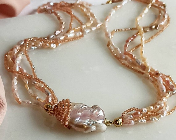 Five strand necklace with rose Pearls, Spinel stones and big Baroque Pearl
