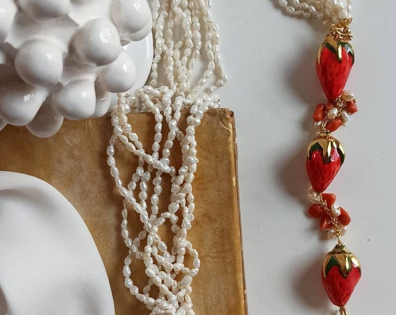 Multi strand necklace with River Pearls and Sicily Ceramic Strawberries