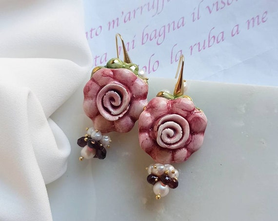 Baroque earrings with Sicily Ceramic Flowers