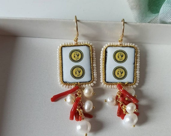 Baroque style Sicily tile earrings