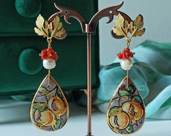 Long Earrings with Sicily Ceramic Drops