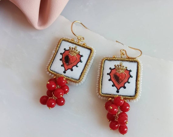 Baroque style Tile Earrings with red stones cluster