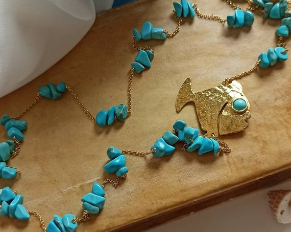 Gold chain necklace with Turquoise chips and Brass fish