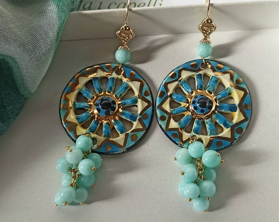 925 Baroque style Earrings with Sicily Ceramic Wheel and green water Jade stones