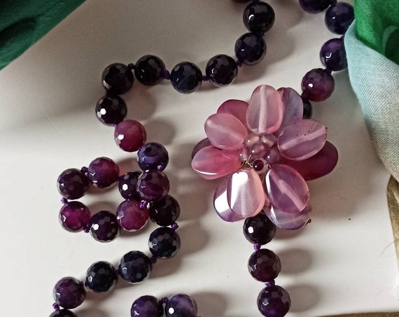 Purple stone necklace with flower