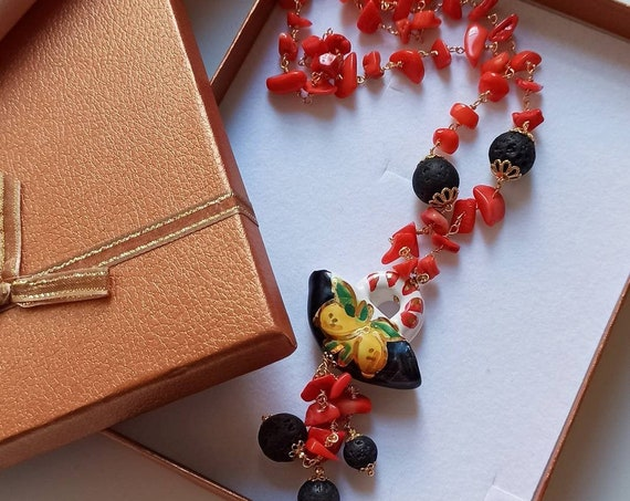 Rosary Chain Necklace with Sicily Ceramic Coffe Bag