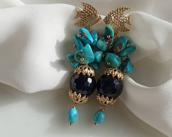 Statement earrings with Turquoise cluster and black Onyx
