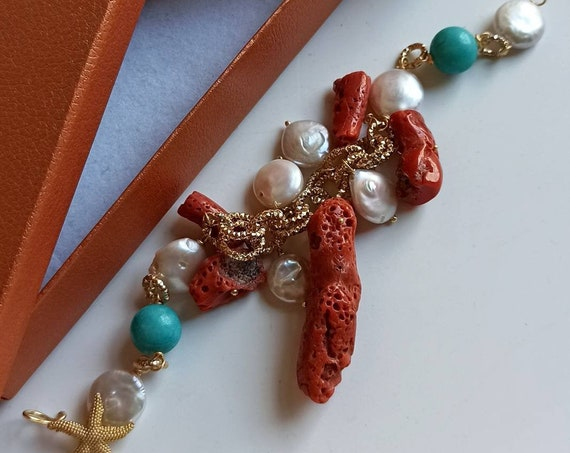 Artisan Bracelet with Mediterranean Coral and flat Baroque Pearls