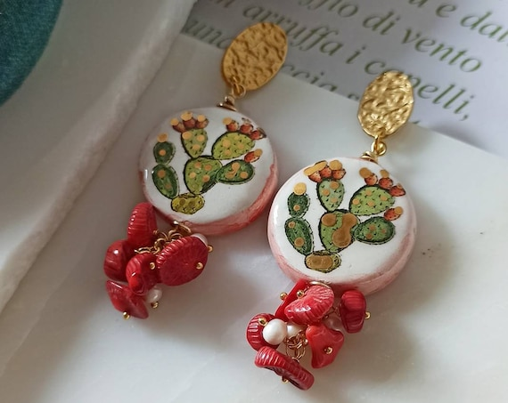 Sicily ceramic earrings with Bamboo Coral cluster