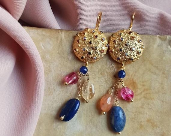 Falling Earrings with Lapis lazuli stones and Quartz stones
