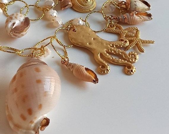 Double chain necklace with Brass pendants and Shells