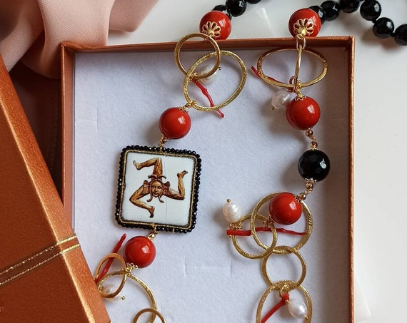 Long necklace with black Onyx stones, Red Stones and Sicily Ceramic Tile
