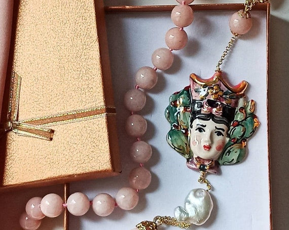 Rose Quartz necklace with Sicily Ceramic head